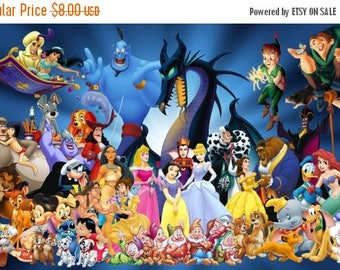 """Disney characters Counted Cross Stitch Disney characters Pattern handmade embroidery needlepoint - 35.43"""" x 22.14"""" - L008"""