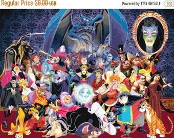 "Disney villains Counted Cross Stitch Disney Pattern kreuzstitch embroidery point de croix korss - 31.50"" x 23.71"" - L750"
