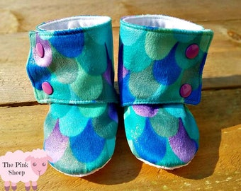Green Glitter Mermaid Stay on Booties