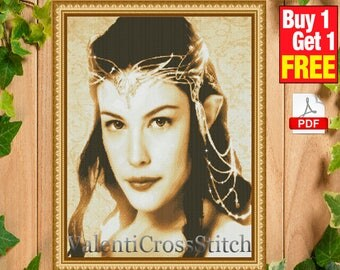 Arwen The Lord of the Rings Cross Stitch Pattern, Arwen Cross Stitch Pattern, lord of the rings. Liv Tyler cross stitch pattern. #sp 17