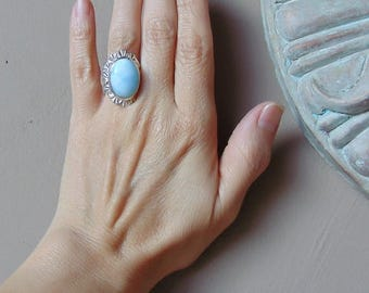 Sterling Silver Larimar Ring Size 6.25