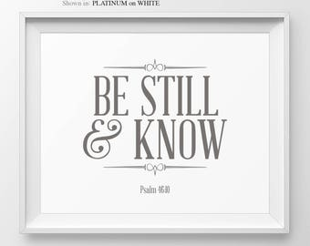 Be Still And Know Bible Verse Sign Religious Home Decor Psalm 46:10 Christian Wall Art Christian Gifts Christian Quote Bible Verse Wall Art