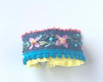Boho - textile cuff - bracelet Bohemian bracelet