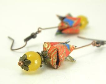 Origami earring Tulipe