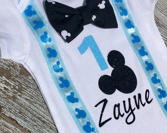 Mickey Mouse 1st birthday onesie with bowtie, Mickey Mouse birthday outfit, first birthday onesie, Mickey Mouse birthday