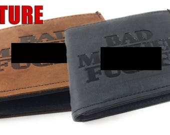 Mature, Bad Mother F*cker Basic Bifold Wallet, Genuine Leather, Leather, Leather Bifold Wallet, Made in USA, Bifold Leather Wallet