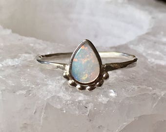 Australian opal sterling silver ring, white opal ring, October birthstone ring, dainty opal ring, genuine opal, pastel opal, MADE TO ORDER