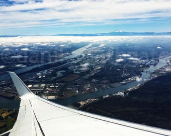 Portland Oregon and wing from an airplane window - Stock aerial travel photography for digital download, print, and commercial use license