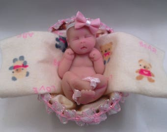 "Polymer Clay Babies ""Newborn Baby Girl"" BABY SIZE 32.5""  Gift, Collectible, Keepsake, Memorial, Baby Shower, Cake Topper, Birthday"