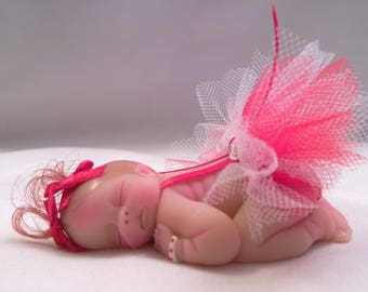 "Polymer Clay Babies Valentine Baby Girl BABY SIZE 2.5"" Gift, Collectible, Keepsake, Memorial, Cake Topper, Baby Shower, Birthday, Christmas"