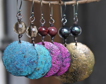 Copper earrings, Copper Jewelry, Turquoise earrings, Hammered earrings, Dangle copper earrings, Blue dangle earrings, Handmade earrings Gift