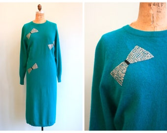 Vintage 1980's Turquoise Angora and Sequin Dress | Size Large