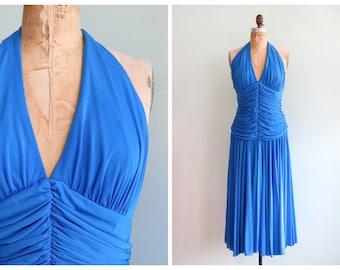 Vintage 1970's Blue Draped Halter Dress | Size Medium