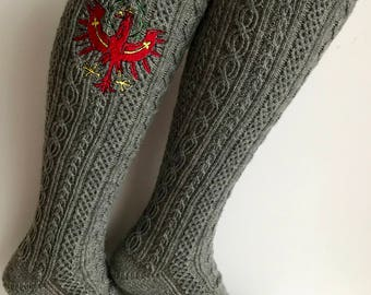 Hand knitted costume Stockings with Tyrolean eagle Gr. 42-44