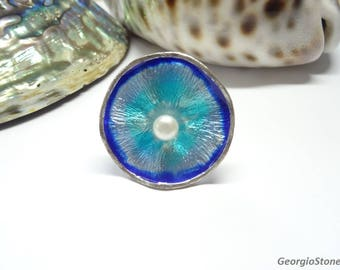 NEW Summer Collection, Blue Waterlily Flower Ring, Silver Ring with Natural Pearl, Adjustable Size, Handmade in Greece