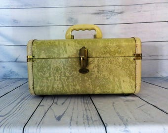 Marble Train Case, Small Suitcase, 1950s Vintage Luggage, Hard Side Overnighter,Maximillian Case, cosmetic craft case