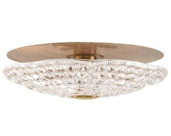 Brass and Pressed Glass Ceiling Fixture by Orrefors