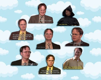 """Dwight Schrute Quotes Sticker Pack 8 ct 2 x 1.5"""" - The Office Tv - Office Dwight - Office Tv Show - Dwight Schrute - The Office Tv Gift"""