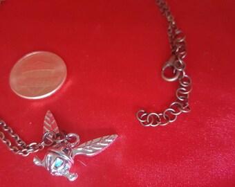 Zelda fairy necklace. Navi charm adjustable chain. Nintendo fan jewelry. Ocarina of Time