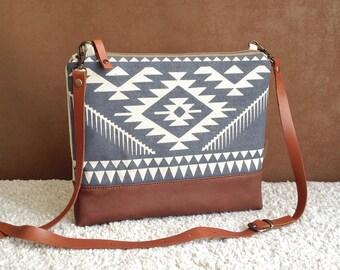 Aztec bag,Dayly Cross-body Bag,Tribal handbag,Bulgarian Print,Boho Bag,linen print bag,Navajo,Casual Clutch,Southwest Bag,For Her,Travel Bag