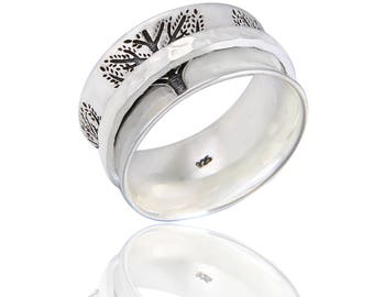 """The """"FORTITUDE"""" Sterling Silver Meditation Spinner Ring (Style# US64)"""