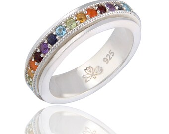 SEVEN CHAKRAS High Polish Sterling Silver Meditation Spinner Ring by Energy Stone (Style# US41)