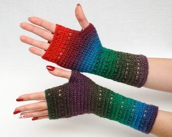 Clothing gift Outdoors gift Crochet Fingerless Gloves Arm Warmers Wrist Hand warmers Womens Gloves Girlfriend Gift Wife Gift Winter Gloves