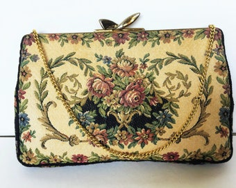 Petit Point Purse, Handbag, Evening Bag 1930's Petit Point, Tapestry, Needlepoint, Floral design