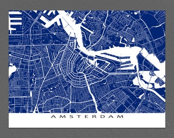 Amsterdam Map Print, Amsterdam Art, Amsterdam The Netherlands, Holland City Map Art