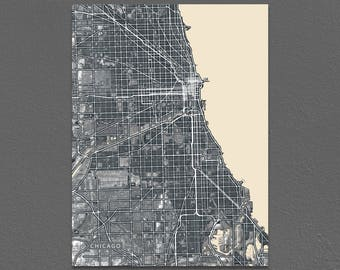 Chicago Map Print, Black and White Art, Vintage Inspired, Illinois