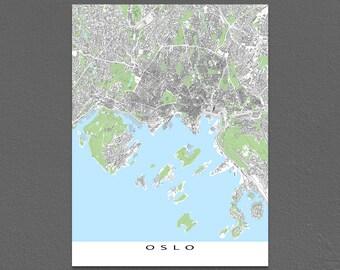 Oslo Map Print, Oslo Norway, Europe City Art Print, Buildings