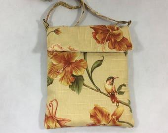 Floral bird handbag, fabric handbag, fabric purse,women's handbag, handmade purse, floral purse,handbags and purses, shoulder bag,
