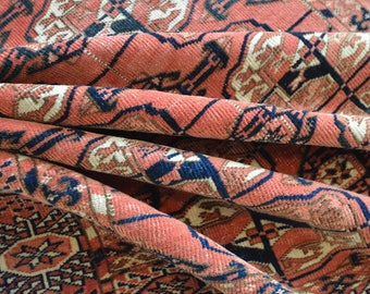 "Fine Antique Turkoman Bukhara Rug - 3'7"" x 5'9"" // Soft Red Blush // Shabby CHic Oriental Rug"