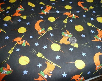 1 Yard Orange Witches On Brooms Cotton Fabric
