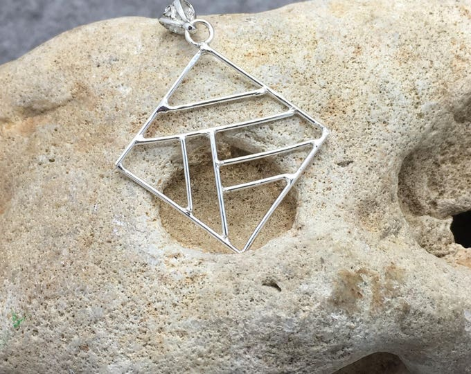 Handcrafted Sterling Silver Abstract Pendant.