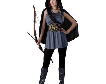 Ladies Women's Size Medium (8-10) Katniss Everdeen Hunger Games Style Woodland HUNTRESS Costume - Halloween Party, Fan, Role Play, Cosplay