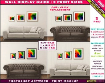 Wall Display Guide | 3 Print Sizes Photoshop Mockup | 8x10 11x14 16x20 | Portrait & Landscape Wooden frames | Sofa interior | Smart object