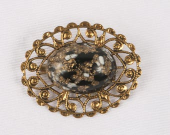 """1960's Gold Foil, White and Black Lucite Cabochon on Gold Tone Open Work Lacy Edge Base Brooch, Excellent VTG Cond., 1-5/8"""" w x 1-1/4"""" H"""