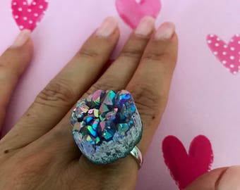 Gorgeous Statement Angel Aura Amethyst Cluster Sterling Silver Ring size 7, 7.5 or 8