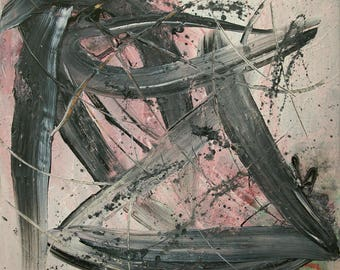 Large Abstract Acrylic Painting Pink Painting Grey Painting Black Painting Modern Art Contemporary Art