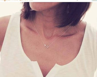 ON SALE Sterling Silver Anchor Necklace / Sideways Anchor Necklace / Small Anchor Necklace / Silver Anchor Necklace / Nautical Necklace