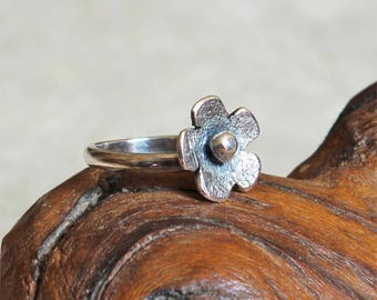 Silver Flower Band Ring - Sterling Silver- Stacking Ring - Made to Order - All Sizes