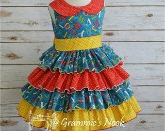 Girls School Dress, Preschool Dress, Toddler Dress, Ruffle Dress, Alphabet Dress, ABC Print Dress, Primary Colors Dress, 3T Ready to Ship