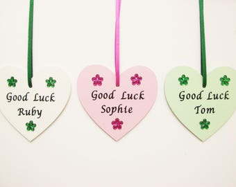 Good Luck Gift, Good Luck Charm, Personalised Gift, Exams, SATS, New Job, Driving Test, Travel, Wooden Heart, Green gift, Plaque, Keepsake