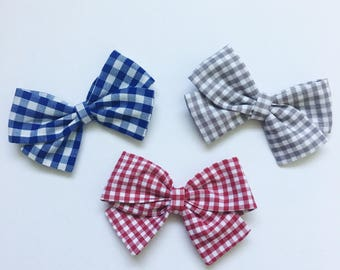 Patriotic gingham reagan bow set