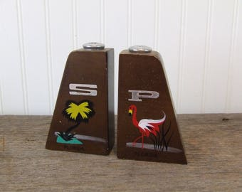 Wood Salt and Pepper Shakers, Vintage Shakers, Florida Shakers, Salt & Pepper