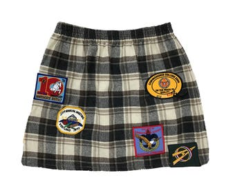 Boy Scout Patched Plaid Mini Skirt Size Small Medium