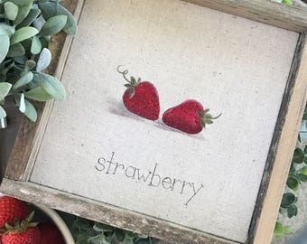 Strawberry // 9x9 Handpainted Sign