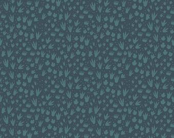 1 Yard Fossil Rim by Deena Rutter  for Riley Blake Designs-6615 Footprint Navy