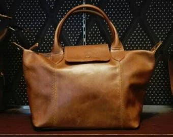 Brown distressed leather handbag